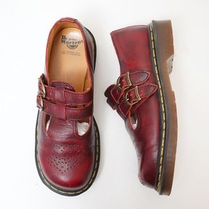 Dr. Martens Mary Jane Red Double Buckle Shoes.
